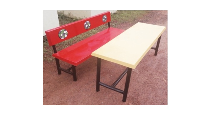FRP THREE SEATER DESK BENCH